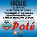 Reunião Ordinária da Câmara Municipal de Poté 10/08/2017