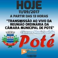 Reunião Ordinária da Câmara Municipal de Poté 11/09/2017