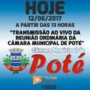 Reunião Ordinária da Câmara Municipal de Poté 12/06/2017