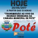Reunião Ordinária da Câmara Municipal de Poté 20/06/2017