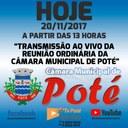 Reunião Ordinária da Câmara Municipal de Poté 20/11/2017