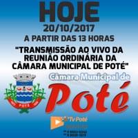 Reunião Ordinária da Câmara Municipal de Poté 20/10/2017